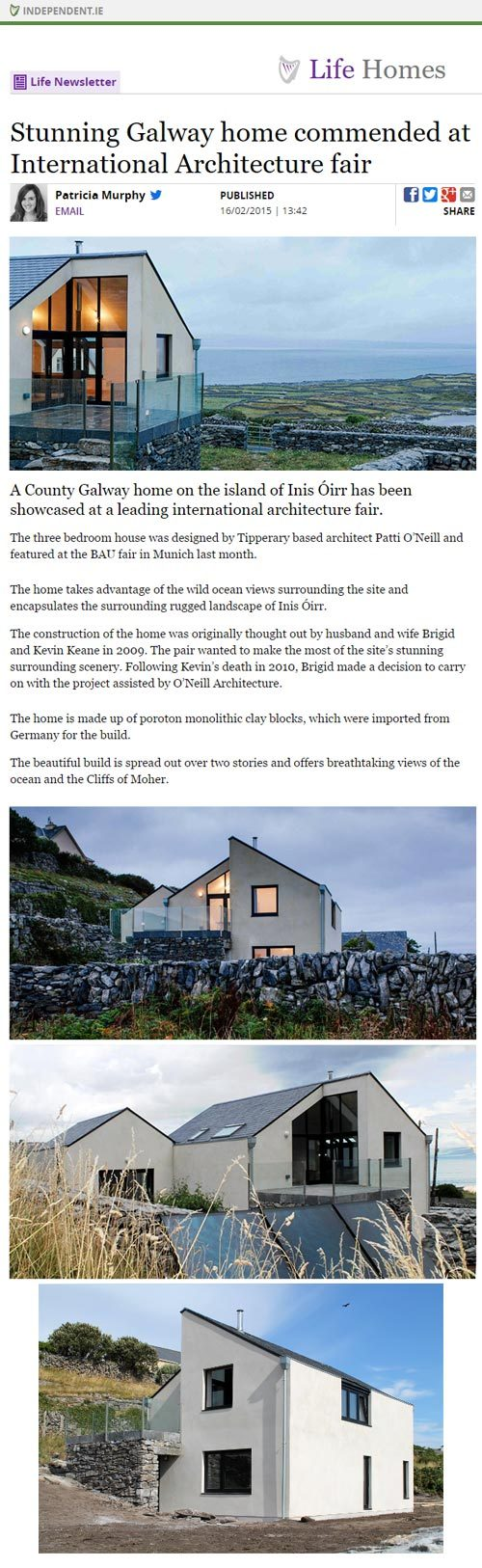 Stunning Galway home commended at International Architecture fair